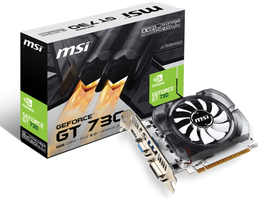 MSI GeForce GT 730 (N730K-2GD3-OCV1) -  2GB GDDR3 64Bit 1006-1600Mhz,
