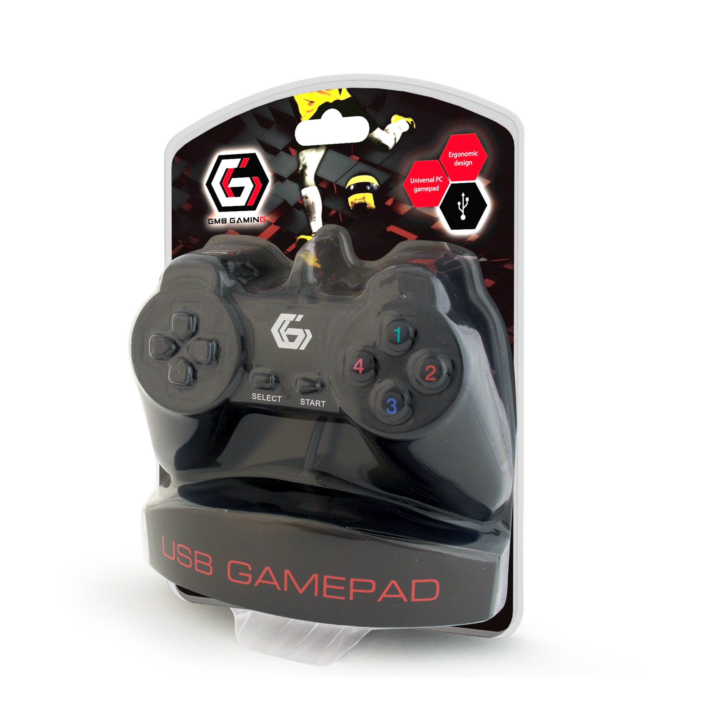 Gembird JPD-UB-01 Universal programmable gamepad, 4-way D-pad and 10 b