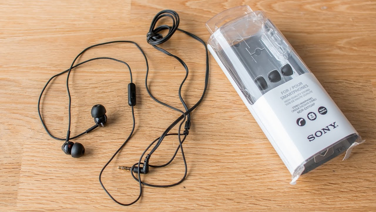 Earphones  SONY  MDR-EX110AP, Mic on cable,  4pin 3.5mm jack L-shaped,
