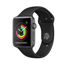 Apple Watch 3 42mm-Space Gray Aluminium Case With Black Sport Band, MT